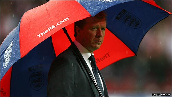 Steve McClaren looks on as England fail to qualify for Euro 2008. (Via www.bbc.co.uk  )