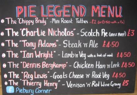 arsenal pie legend menu