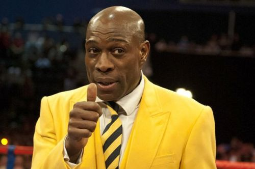 Frank Bruno attends the WBO World Lightweight title fight between Ricky Burns and Paulus Mosesat the Braehead Arena-796137